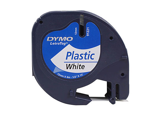 Dymo Letra Tag Beschriftungsband Plast weiss